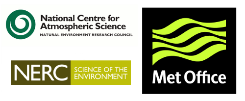 NCAS/NERC/Met Office logos